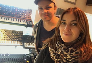 Gill Dooley with her husband producer/songwriter Richey McCourt at their home studio.